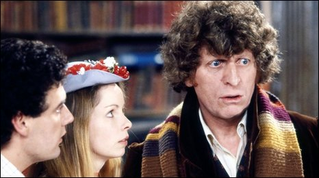 A scene from Shada - Daniel Hill as Chris Parsons, Lalla Ward as Romana and Tom Baker as the Doctor