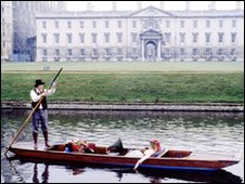 Tom Baker and Lalla Ward on a punt