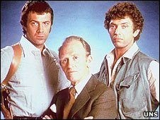 Bodie (Lewis Collins), Cowley (Gordon Jackson) and Doyle (Martin Shaw)