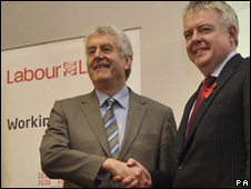 Rhodri Morgan and Carwyn Jones (right)