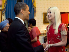 Mrs Salahi shaking hands with President Obama