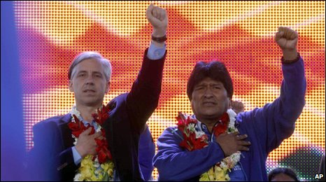 Evo Morales (R) and VP Alvaro Garcia in El Alto, Bolivia, 3 Dec