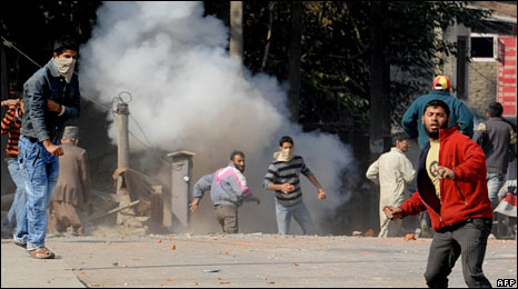 Muslim protesters in Srinagar. Photo: October 2009