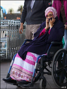 Aminatou Haidar sits in a wheelchair in Lanzarote. Photo: 7 December 2009
