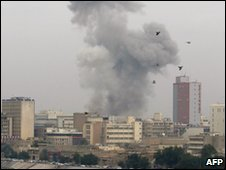 Smoke billows after an explosion in the Iraqi capital Baghdad on 8 December 2009.
