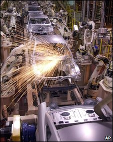 Robots on car production line, AP