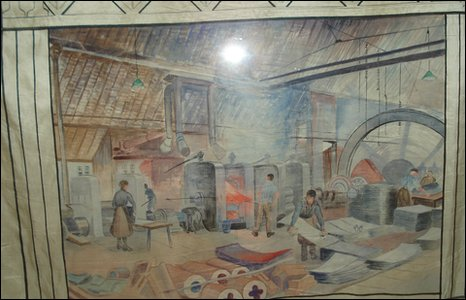 Part of the ISTC banner, featurng a woman working in the Ironworks. Picture: Dorman Museum.