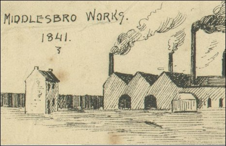 A drawing of Bolckow and Vaughans first ironworks, back in 1841