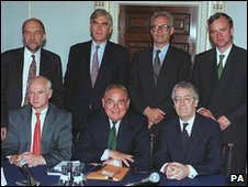 Sir Alan Budd, back row, left, was a member of the MPC in 1997