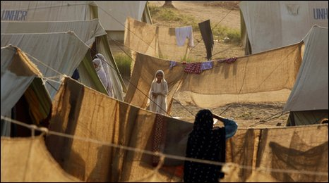 Internally displaced people in a camp near Lahore in May 2009
