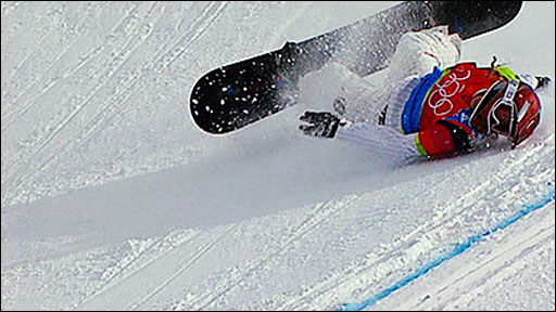 Lindsey Jacobellis crashes in the 2006 women's snowboard cross final