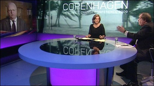 Kirsty Walk, John Prescott and Congressman James Sensenbrenner in the Newsnight studio