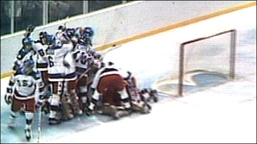 USA beat USSR 4-3 in the ice hockey semi-final at the Lake Placid 1980 Winter Olympics.