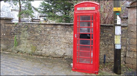 A BT phone box in Beaminster, West Dorset