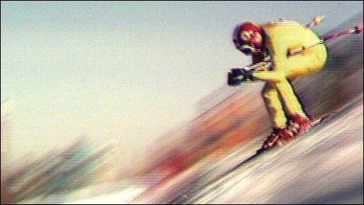 Franz Klammer wins gold at the 1976 Winter Olympics in Innsbruck