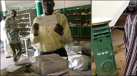 A post office worker in Ivory Coast (left - BBC); post office box in Abuja, Nigeria (right - AFP)