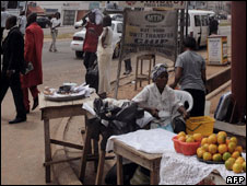 A vendor at a street corner in Accra, Ghana