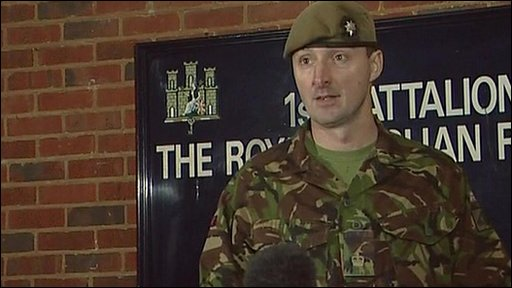 Maj Chris Barry, of 1st Battalion The Royal Anglian Regiment pays tribute to L/Cpl Adam Drane