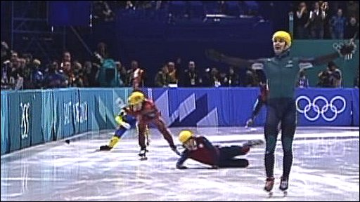Steven Bradbury wins gold in the men's 1000m short track speed skating at the 2002 Winter Olympics in Salt Lake City