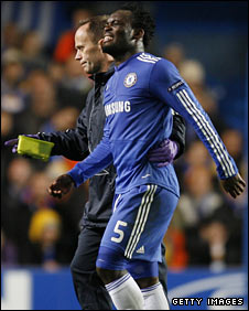 Michael Essien goes off injured