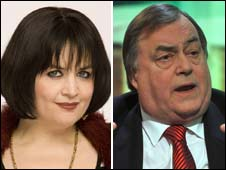 Nessa Jenkins, played by Ruth Jones in Gavin and Stacey, and ex-deputy PM John Prescott