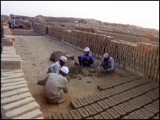 Men working in a brick factory in Bangladesh