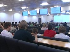 students in university lecture theatre