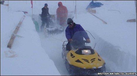 Skidoos at work in Antarctica