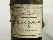 Bottle of cognac that sold for 25,000 euros at auction of wines from La Tour D'Argent restaurant in Paris