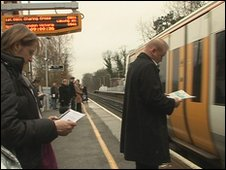 Commuters at West Malling station