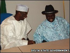 Attahiru Bafarawa (L) with former Delta State Governor James Ibori