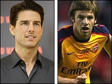 Actor Tom Cruise (left) and Arsenal defender Tom Cruise