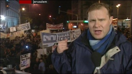 The BBC's Paul Wood at a Jewish settler protest in Jerusalem