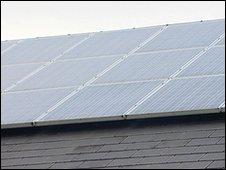 Solar panels on school (BBC)