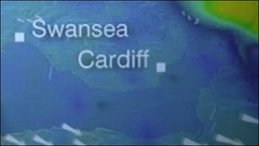 Weather graphic shows heavy rain across Swansea and Cardiff