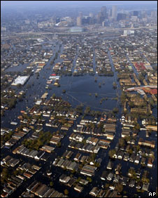 New Orleans flooded after Hurricane Katrina