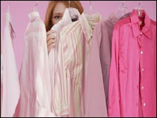 Woman with pink shirts and blouses