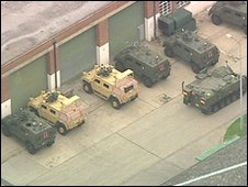 Army vehicles at Ashchurch depot