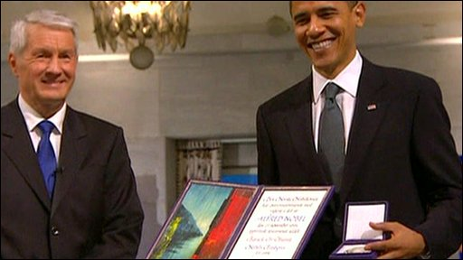 US President Barack Obama has collected his Nobel Peace Prize 