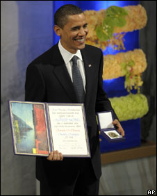 President Obama receives the Nobel Peace Prize in Oslo