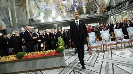 Barack Obama at the Nobel ceremony