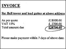 Invoice for bell tower work