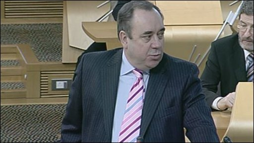 First Minister Alex Salmond answers questions from MSPs