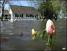 A flooded house in the US (Image: AP)