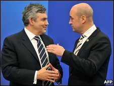 Gordon Brown, left and Fredrik Reinfeldt