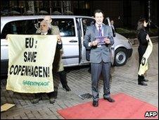 Greenpeace activists in Brussels, Belgium, 10 December