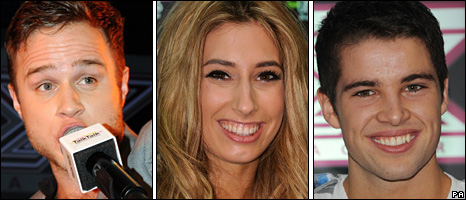 Olly Murs, Stacey Solomon and Joe McElderry