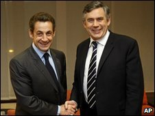 British PM Gordon Brown and French President Nicolas Sarkozy
