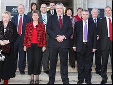 Carwyn Jones with his cabinet outside the Welsh Assembly Government offices in Cardiff