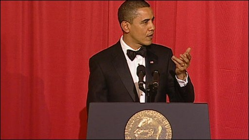President Obama make a speech at Nobel Peace Prize dinner